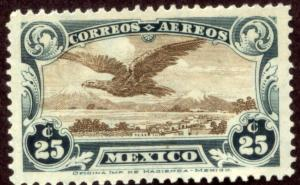 MEXICO C4, 25cents Early Air Mail single. Mint, NH. F-VF.