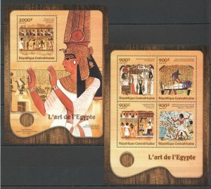 CA009 2016 CENTRAL AFRICA ART FAMOUS PAINTING EGYPT KB+BL MNH