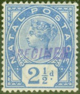 Natal 1891 2 1/2d Brt Blue Specimen SG113s V.F Very Lightly Mtd Mint
