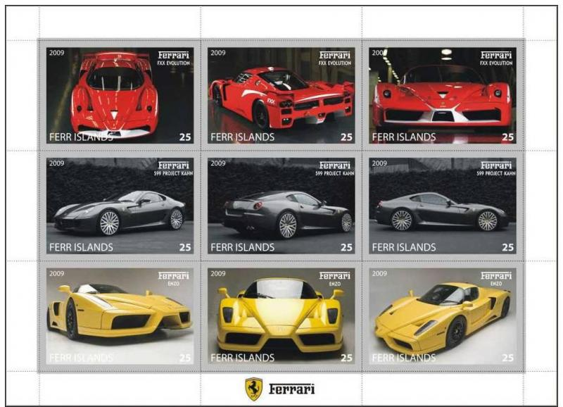 FERR ISLANDS SHEET IMPERF CINDERELLA FERRARI CARS