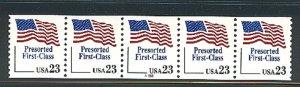 USA PNC SC# 2605 FLAG  $0.23c.PRESORTED FIRST CLASS PL# A333 W. A. PNC5 MNH