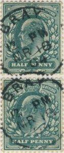 GB/Ireland 1904 BRAY (Co. Wicklow) CDS on KEVII SG 215/6 1/2d blue-green (x2)
