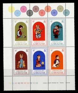 GIBRALTAR QEII SG MS349b, 1975 sheetlet Nos 349/354, NH MINT. CONTROL