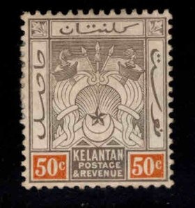 MALAYA Kelantan Scott 8 MH* wmk 3, hinge remnant toned gum