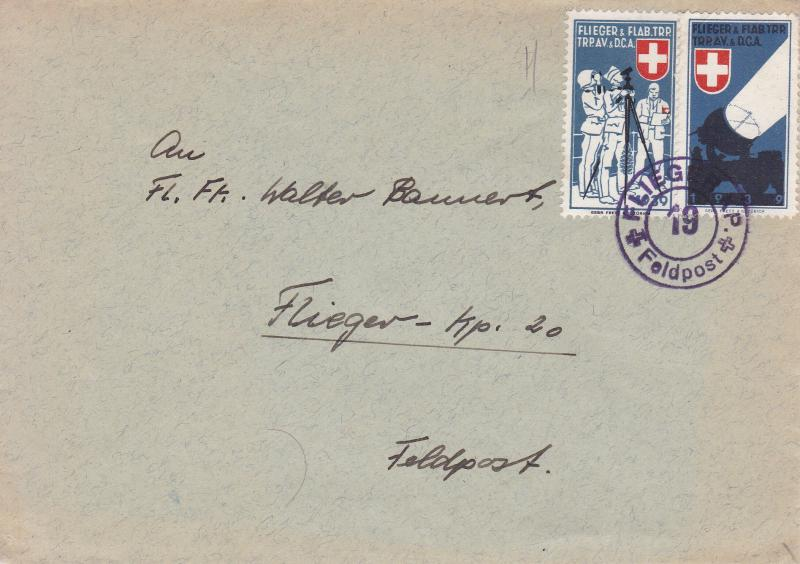 Switzerland 1940 lot of 2 Feldpost Covers with Swiss Soldier Stamps.