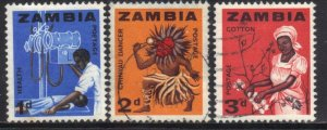 ZAMBIA SC# 4+5+6  **USED** 1964  1+2+3p   SEE SCAN