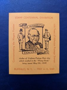 Centennial Expo Sir Rowland Hill, Buffalo N.Y. 1940 Superb NH, CV $13.50
