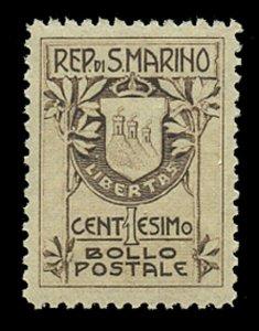 SAN MARINO Sc#  78a, 1910 1c COAT OF ARMS, TYPE 1 (18½ mm), MINT F-VF NH
