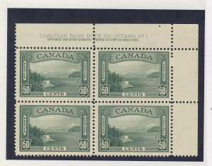 4x Canada  Stamps; #244-50c Plate block #1 UR MNH VF+. Guide Value = $450.00