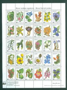 Denmark. Poster Stamp  Sheet Mnh 1983 WWF. Rain Forests Protection.