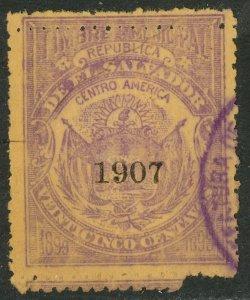 EL SALVADOR 1907 25c ARMS Municipal Revenue DBLE PERF ROW typ II Ross M118 VFU