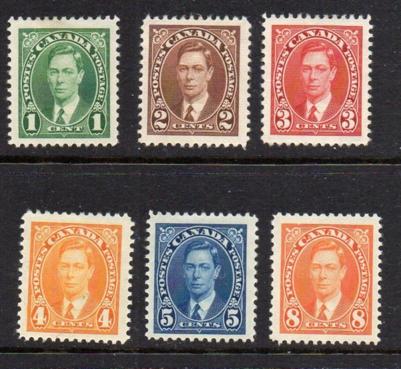 Canada Sc 231-36 1937 George VI stamp set mint