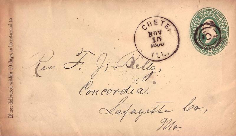 United States Illinois Crete 1890 target  Postal Stationery Envelope  Small o...