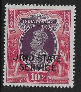 INDIA-JIND SGO72 1940 10r PURPLE & CLARET OFFICIAL MTD MINT