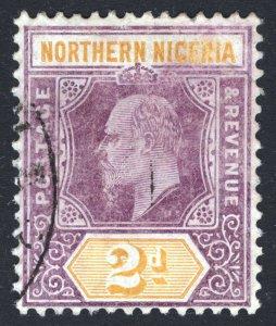 Northern Nigeria 1907 2d Purple & Yellow Chalky SG 22a Scott 21a FU Cat £32($53)
