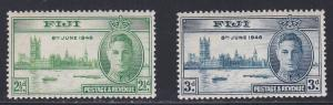 Fiji # 137-138, Peace Issue, some acid staining on backs, NH, 1/3 Cat.