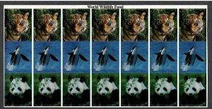 1990s WWF , World Wildlife Fund Sheet of 21 Peel & Stick Labels - I Combine S/H