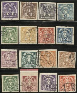 AUSTRIA 1920  Sc P29/P45  16 Mercury Newspaper stamps Used, VF