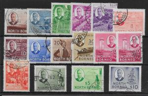NORTH BORNEO SG356/70 1950-2 DEFINITIVE SET USED