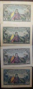 O) 1938 ECUADOR, DIE PROOF, LIBERTY CARRYING, US CONSTITUTION, 1c, 10c, 50C, AME