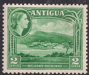 Antigua 1953 – 62 QE2 2ct Green Umm SG 122 ( L1431 )