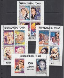 Chad Sc 656-670A MNH. 1996 Entertainers, 7 diff Souvenir Sheets