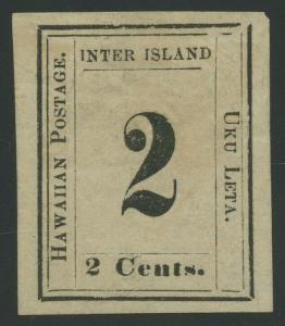 HAWAII #24 2c 1859 UNUSED NO GUM LARGE MARGINS (XF) W/ PF CERT CV $375 BU8276