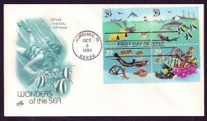 UNITED STATES FDC 29¢ Sea Wonders BLOCK 1994 ArtCraft