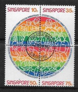 SINGAPORE, 495, USED, BLOCK OF 4, CITIZENS CONSULTATIVE COMMITTEES