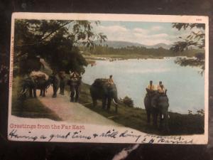 1906 Penang Strait Settlements RPPC Postcard Cover To Berkeley USA Via Hong Kong