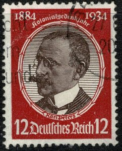 GERMANY 1934 12pf RED-BROWN & CARMINE COLONISERS JUBILEE USED SG 539  XF