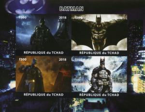 Chad 2018 MNH Batman 4v IMPF M/S Superheroes DC Comics Stamps