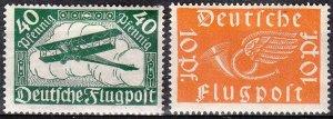 Stamp Germany Reich Mi 111-2 Sc C1-2 1919 Airmail Posthorn Deutsche Luftpost MH