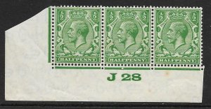 ½d Green Block Cypher Control J28 imperf UNMOUNTED MINT/MNH