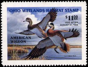 OHIO #16 1997  STATE DUCK STAMP WIDGEONS by D.J. Cleland-Hura