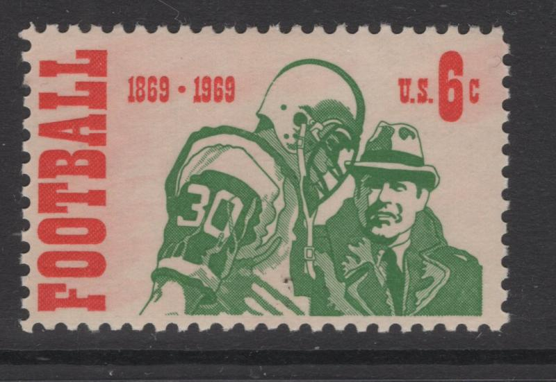 US 1969 Football Player & Coach 6c Stamp Scott 1382 MNH