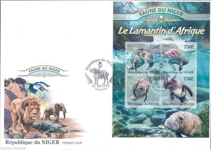 FAUNE OF NIGER 2013 MANATEES SHEET   FIRST DAY COVER