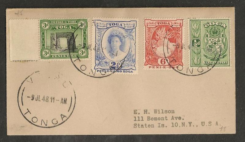 Tonga - 1948 Vavau Cover