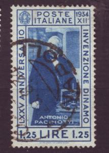 J3605 JLstamp 1934 italy used #323 hv of set pacinotti