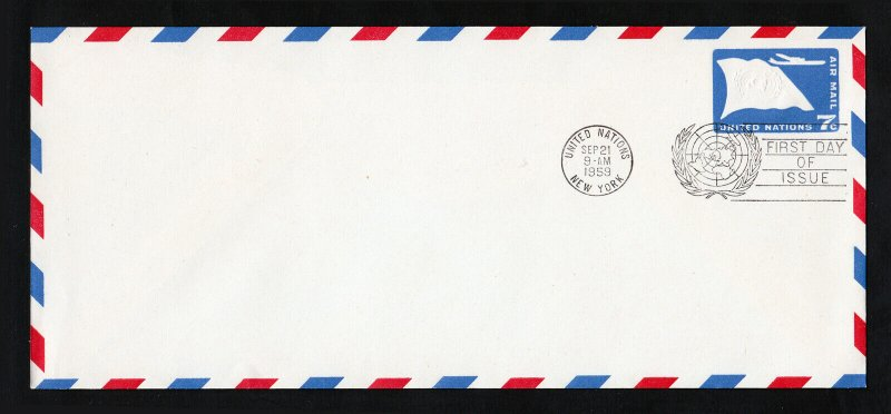 UNITED NATIONS 1959 ⭐ FIRST DAY OF ISSUE ⭐ 7 CENTS AIRMAIL UNCACHETED