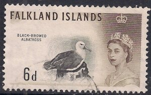 Falkland Islands 1960 - 66 QE2 6d Black browed Albatross SG 200 (  )