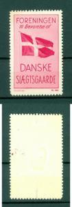 Denmark. Poster Stamp. Mlh. Danish Family's Farm Association. National Flag