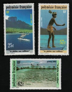 Fr. Polynesia Stone Fishing 3v SG#621-623