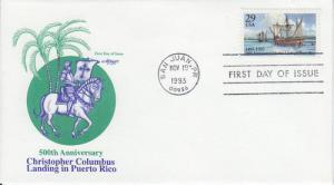 1993 Columbus in Puerto RIco (Scott 2805) Artmaster FDC