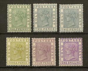 Gold Coast 1884 QV Values to 1/- Mint Cat£117 (6v)