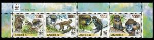 Angola WWF Monkeys Guenons Top strip of 4 with WWF Logo