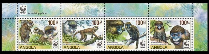 Angola WWF Monkeys Guenons Top strip of 4 with WWF Logo