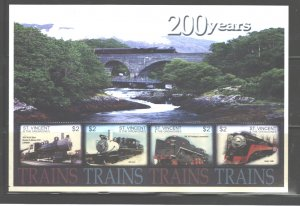 ST. VINCENT & THE GRENADINES 2004 TRAINS MS.#3212  MNH
