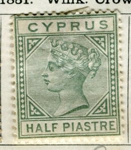CYPRUS; 1892 classic QV Crown CA issue mint hinged 1/2Pi. value