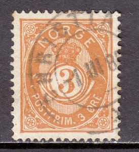 Norway - Scott #38a - Used - Toning, paper adhesion/rev. - SCV $25.00